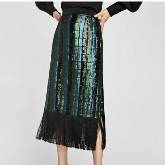 63c153810 Zara Skirts | Sequin Midi Skirt With Fringe | Poshmark